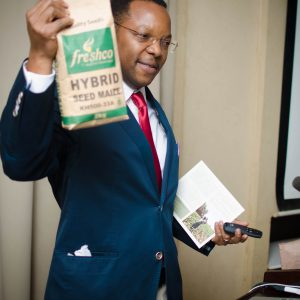 Mabaya shows a 2 KG bag of maize seed  from Freshco